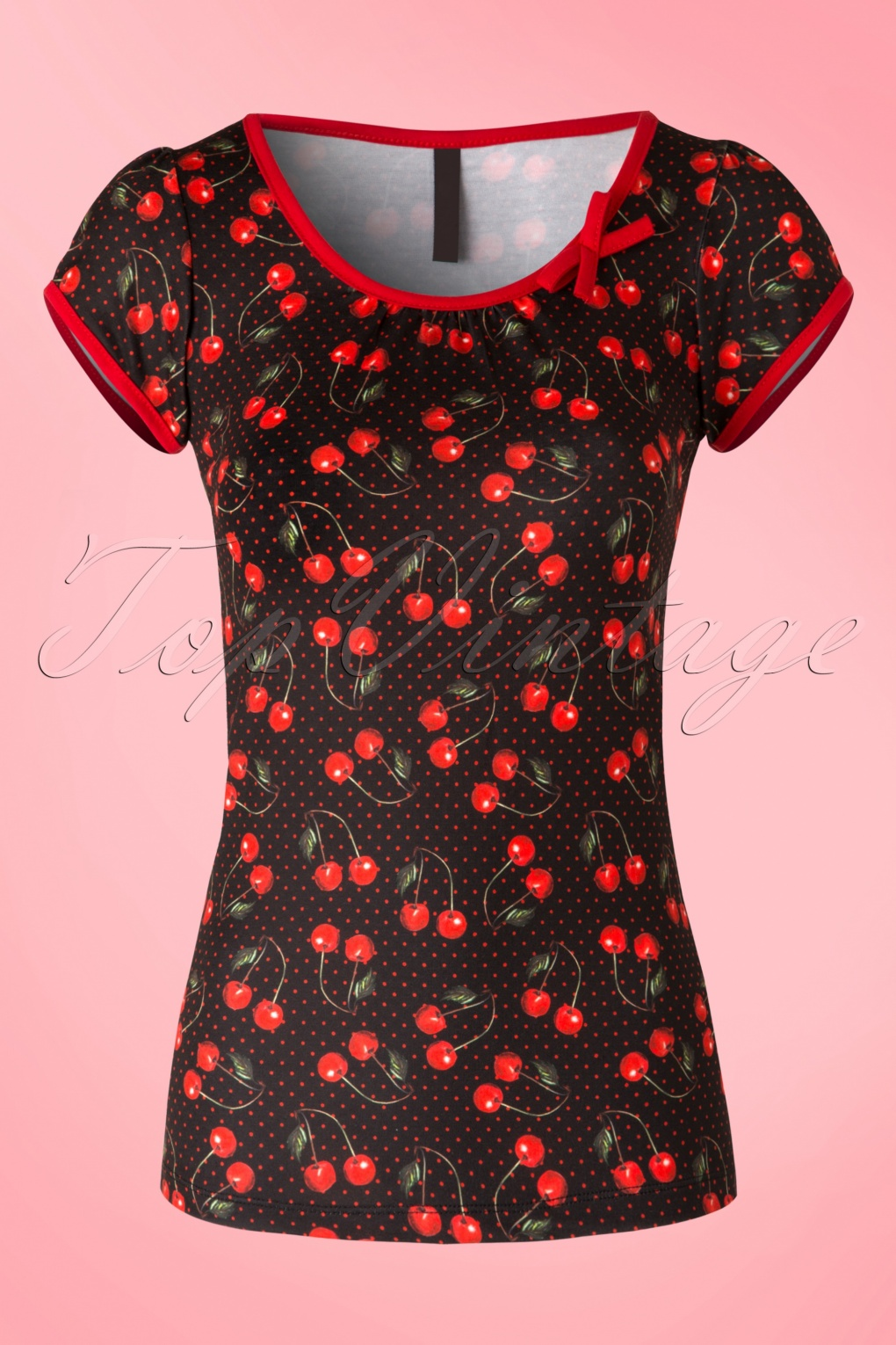 1950s Rockabilly & Pinup Tops, Shirts, Blouses 50s Leona Cherry Art Top in Black and Red £27.58 AT vintagedancer.com