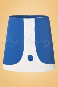 60s Lori Mini Skirt in Blue and Ivory