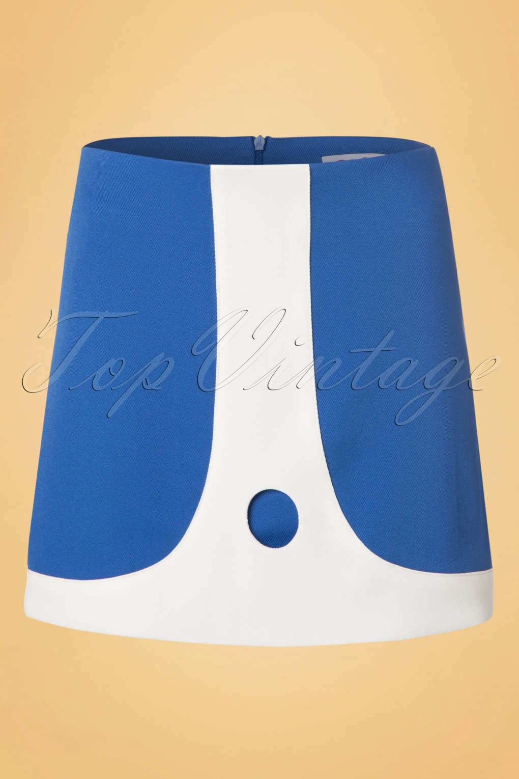 Retro Skirts: Vintage, Pencil, Circle, & Plus Sizes 60s Lori Mini Skirt in Blue and Ivory £12.71 AT vintagedancer.com