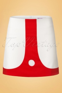 60s Lori Mini Skirt in Ivory and Red