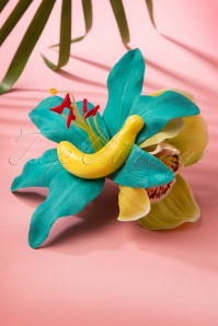 50s Tallulah Banana Flower Hair Clip in Green and Turquoise