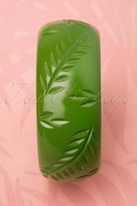 Splendette Chartreuse Carved Leaf 20s Green Fakelite Bracelet 310 40 19284 20160622 0008W