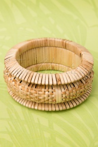 TopVintage Exclusive ~ 20s Woven Tiki Natural Bamboo Bangles Set of 3
