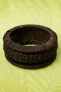 TopVintage Exclusive ~ 20s Woven Tiki Dark Bamboo Bangles Set of 3