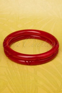 TopVintage Exclusive ~ Delia Carved Bangles Set Années 20 en Bordeaux