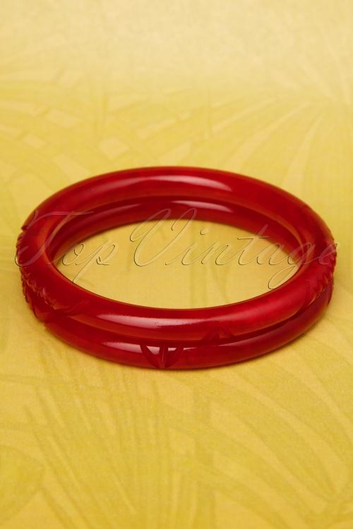 Splendette 20s Red Carved Fakelite Bracelets 310 22 19278 20160622 0014W