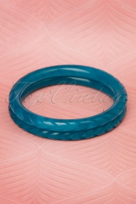 TopVintage Exclusive ~ 20s Esme Carved Bangles Set in Teal