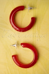 TopVintage Exclusive ~ 20s Delia Carved Hoop Earrings in Wine