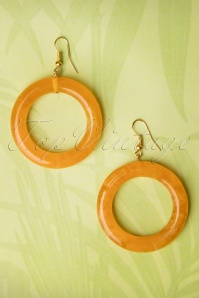 TopVintage Exclusive ~ 20s Muriel Carved Hoop Earrings in Butterscotch