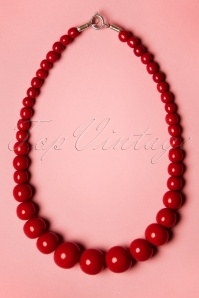 TopVintage Exclusive ~ Gwendolyn Pearl Necklace Années 50 en Rouge