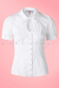 50s Tessa Keyhole Blouse in White