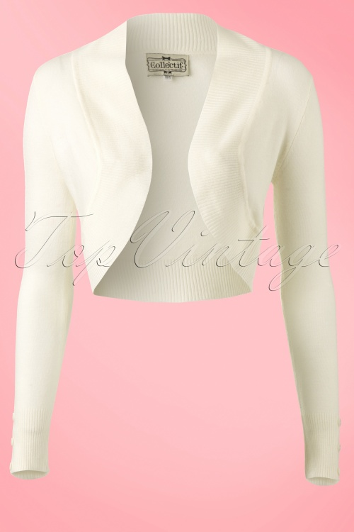 61d71523784c8e Collectif Clothing Jean knitted Bolero in Ivory 12531 20140217 0008W