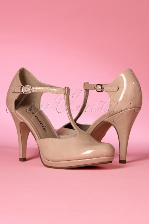 Tamaris Plateau Pumps Damenschuhe High Heels nudefarben