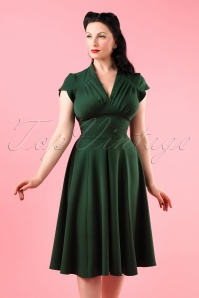 50s Claudette Swing Dress in Vintage Green