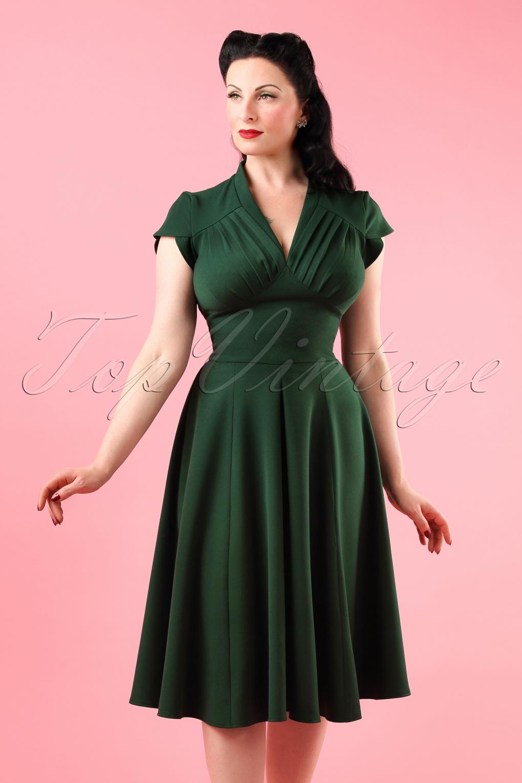 cc7f202153 50s Claudette Swing Dress in Vintage Green