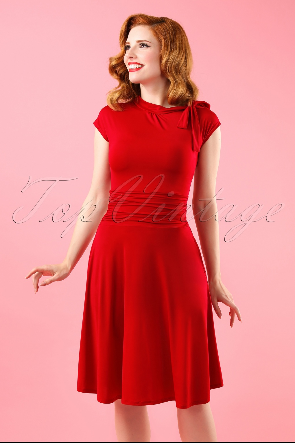 1940s Day Dresses Bridget Bombshell dress in Red £59.17 AT vintagedancer.com