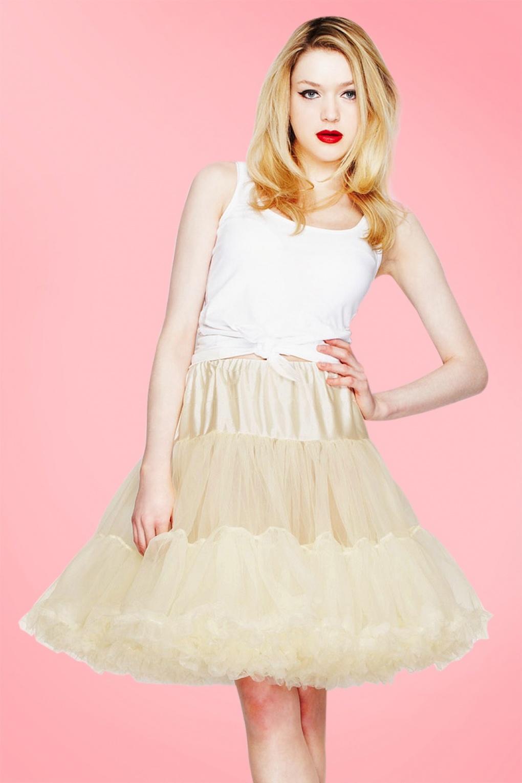 1950s Petticoat History 50s Retro Short Petticoat Chiffon in Ivory £36.78 AT vintagedancer.com