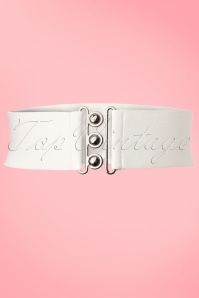 50s Retro Stretch Belt in White