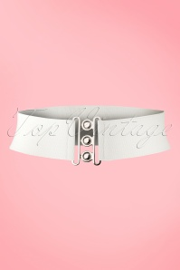 Banned Retro 50s Lauren Retro Stretch Belt in White