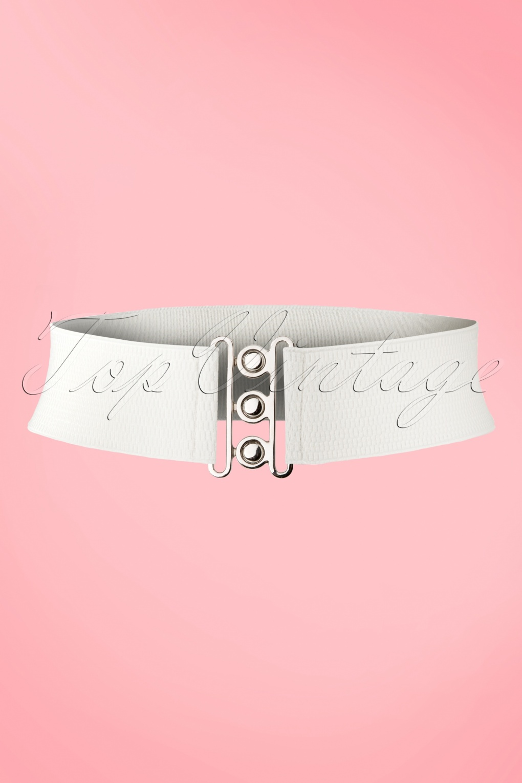 Vintage Retro Belts 50s Lauren Retro Stretch Belt in White £6.89 AT vintagedancer.com