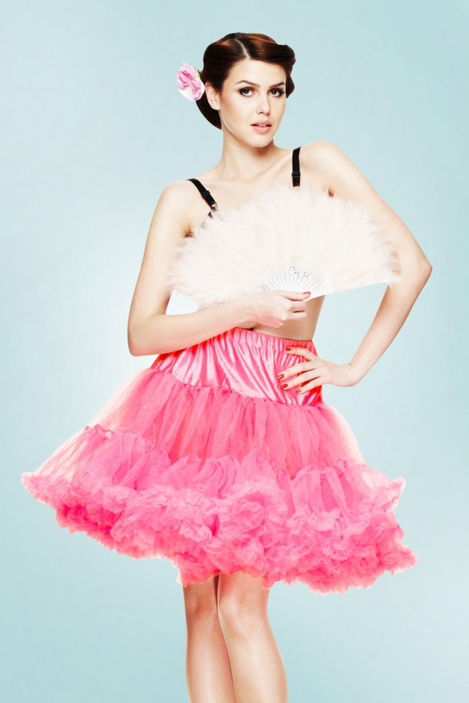 50s Retro Short Petticoat Chiffon in Hot Pink
