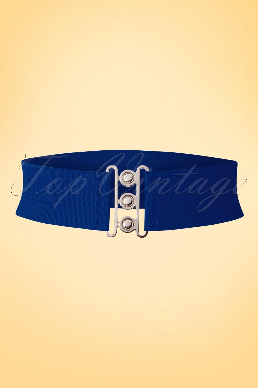 Vintage Wide Belts, Cinch Belts 40s, 50s Belts 50s Lauren Vintage Stretch Belt in Royal Blue £6.96 AT vintagedancer.com