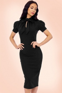 Vintage Chic Black Luxury Bodycon Bow Dress 100 10 19253 1