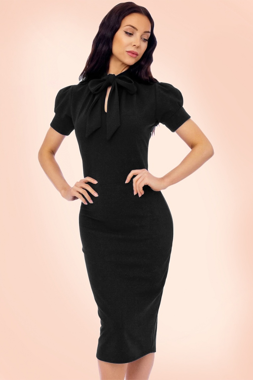 Vintage Inspired Cocktail Dresses, Party Dresses 50s Bonnie Tie Neck Pencil Dress in Black £45.45 AT vintagedancer.com