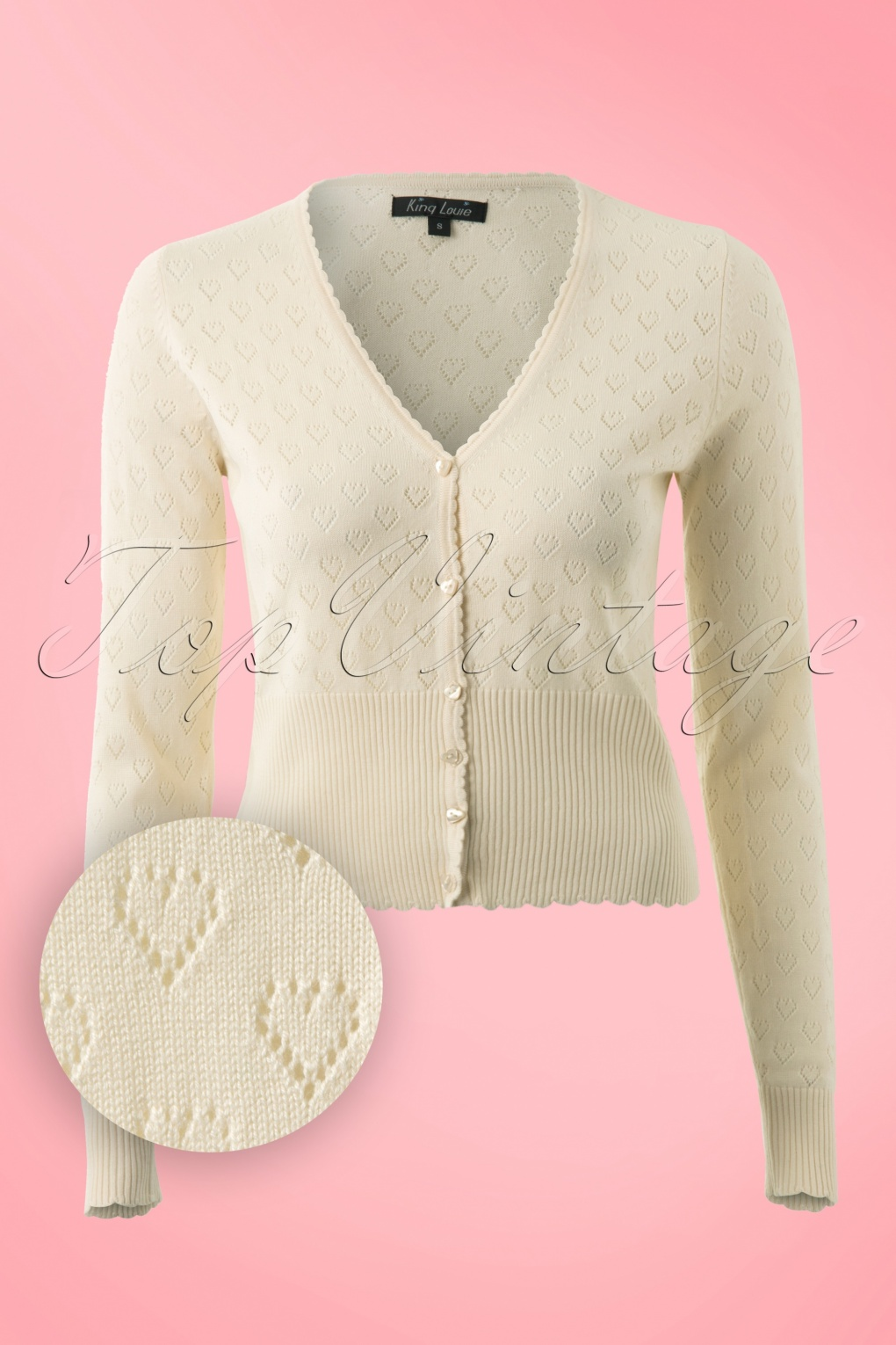 1940s Style Sweaters and Knit Tops 40s Heart Ajour Cardigan in Cream £65.11 AT vintagedancer.com