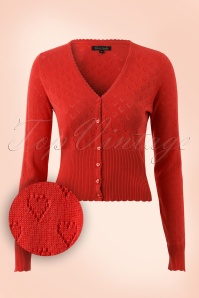 40s Heart Ajour Cardigan in Red