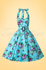 Vixen 50s Blue Retro Halter Floral Swing dress 102 39 10974 20150302 0001W
