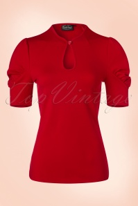 50s Dita Keyhole Top in Red