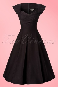 50s Mad Men Swing Dress in Black