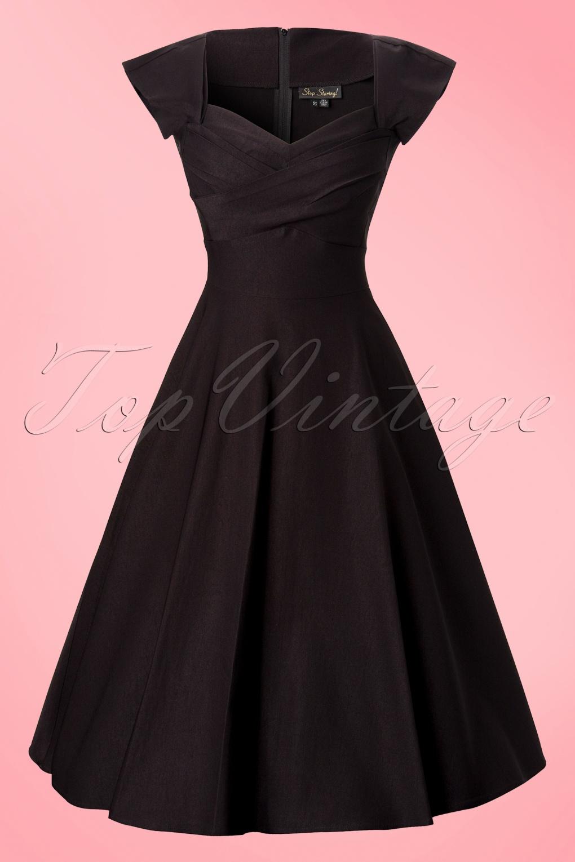 50s Mad Men Swing Dress In Black