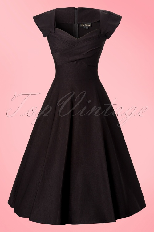 d422bb412971 Stop Staring 50s Mad Men swing dress black 10002 5W