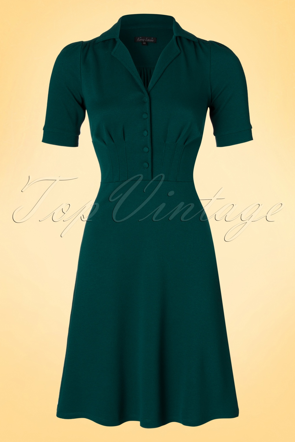 40s Milano Diner Crepe Dress in Teal