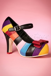 50s Angie Mary Jane Plateau Pumps in Multi