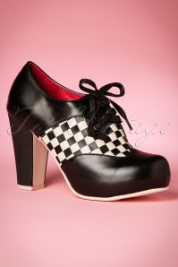 50s Angie Checkered Plateau Booties in Black and White