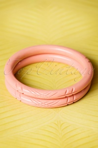 TopVintage Exclusive ~ 20s Stella Carved Bangles Set in Pale Pink