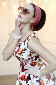 50s Hepburn Butterfly Floral Swing Dress in Ivory