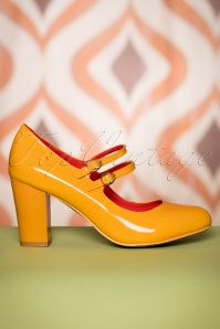 Golden Years Lacquer Pumps Années 60 en Moutarde