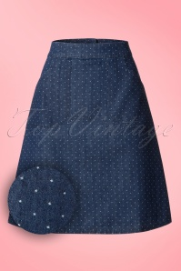 60s Famous Fish Flounder Pin Dots Skirt in Denim