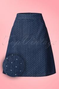 60s Famous Fish Flounder Pin Dots Skirt in Denim