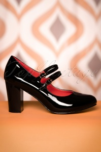60s Golden Years Lacquer Pumps in Black