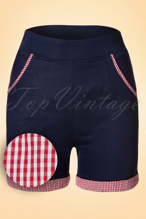 Banned50s Blueberry Hills Gingham Shorts in Denim