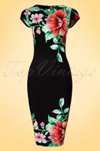 60s Aloha Tropical Garden Short Sleeves Pencil Dress in Black