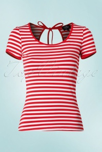 50s Gina Stripes Top in Red and White