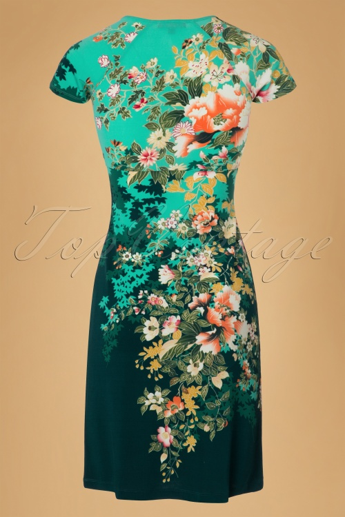 60s ayumi dress in dragonfly green