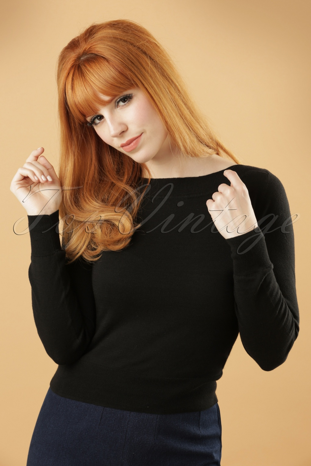 Vintage & Retro Shirts, Halter Tops, Blouses 50s Boatneck Cottonclub Top in Black £54.14 AT vintagedancer.com