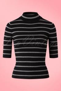 Yumi Striped Grey Black Turtleneck Top 113 14 18344 20160121 0115W